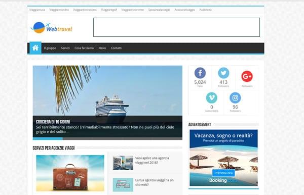 web travel homepage